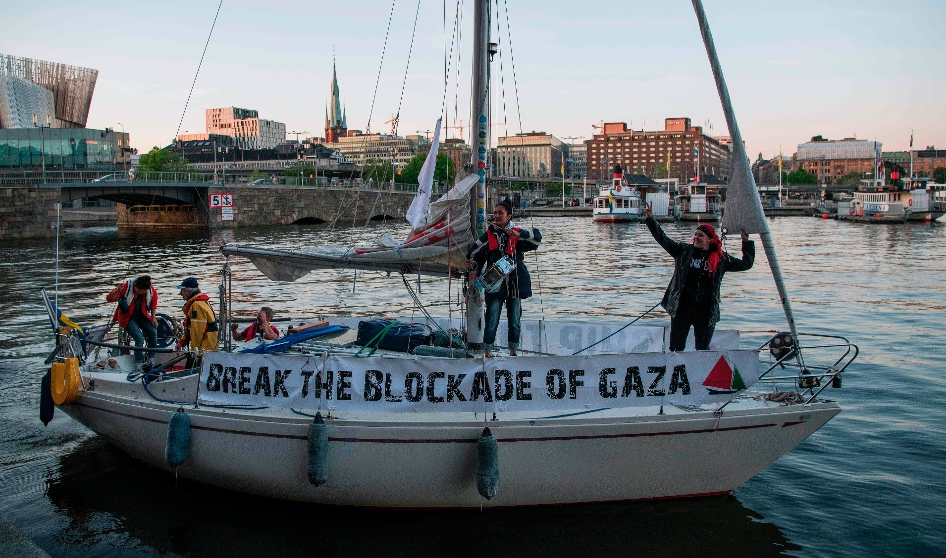 Five people on onboard leave Stockholm for Gaza to try to break Israelu2019s blockade on Gaza, May 15.
