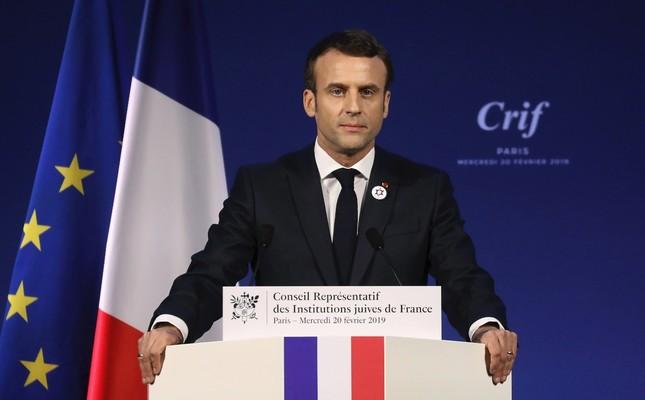 France's President Emmanuel Macron gives a speech, Paris, Feb. 20, 2019.