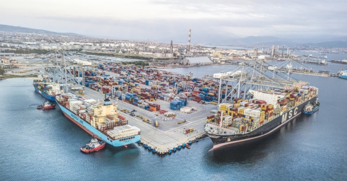 The file photo dated Feb. 11, 2019 shows the DP World Yaru0131mca port in northwestern Kocaeli province. (IHA Photo)