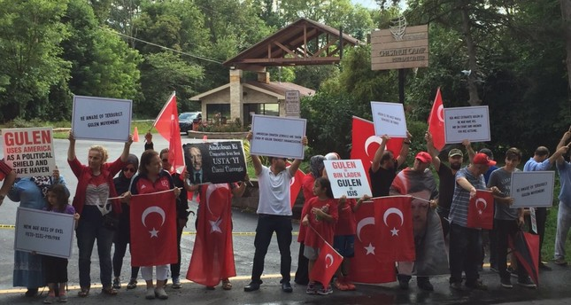 Demonstrators converged at the gate of the compound where Fethullah Gülen lives in Pennsylvania.