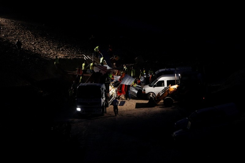 Israeli security forces dismantle a shack at the West Bank Bedouin community of Khan al-Ahmar, Thursday, Sept. 13, 2018. (AP Photo)
