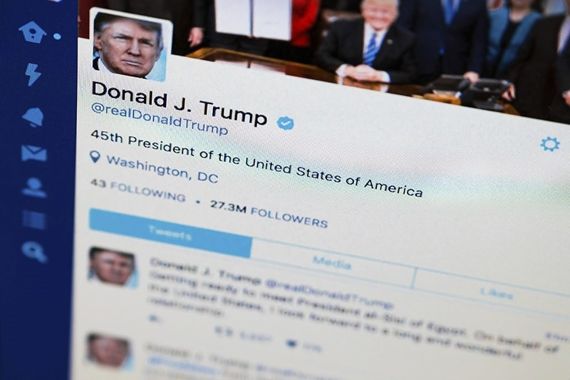 President Donald Trump's tweeter feed is photographed on a computer screen in Washington, Monday. April 3, 2017. (AP Photo)