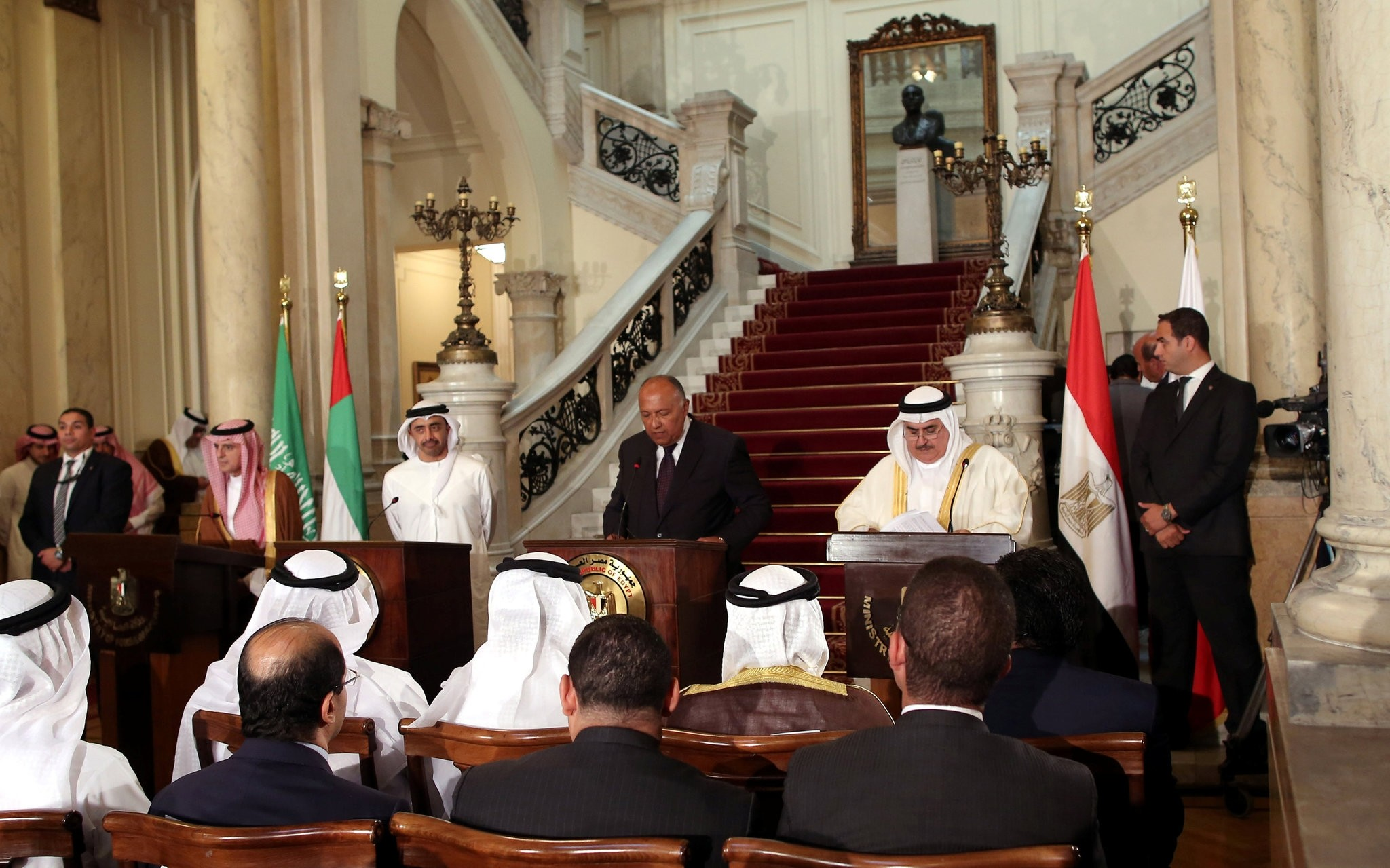 Saudi Foreign Minister Adel al-Jubeir, UAE Foreign Minister Abdullah bin Zayed al-Nahyan, Egyptian Foreign Minister Sameh Shoukry and Bahraini Foreign Minister Khalid bin Ahmed al-Khalifa attend a press conference. (Reuters Photo)