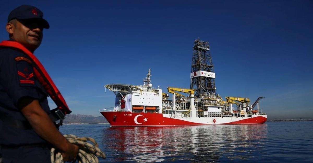 Turkeyu2019s first drilling vessel Fatih is pictured off the Mediterranean resort city of Antalya, Oct. 30, 2018.