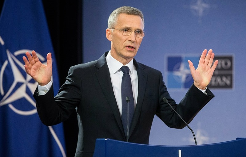 NATO Secretary General Jens Stoltenberg presents NATO's annual report for 2016 during a press conference at alliance headquarters in Brussels, Belgium, March 13, 2017.  (EPA Photo)