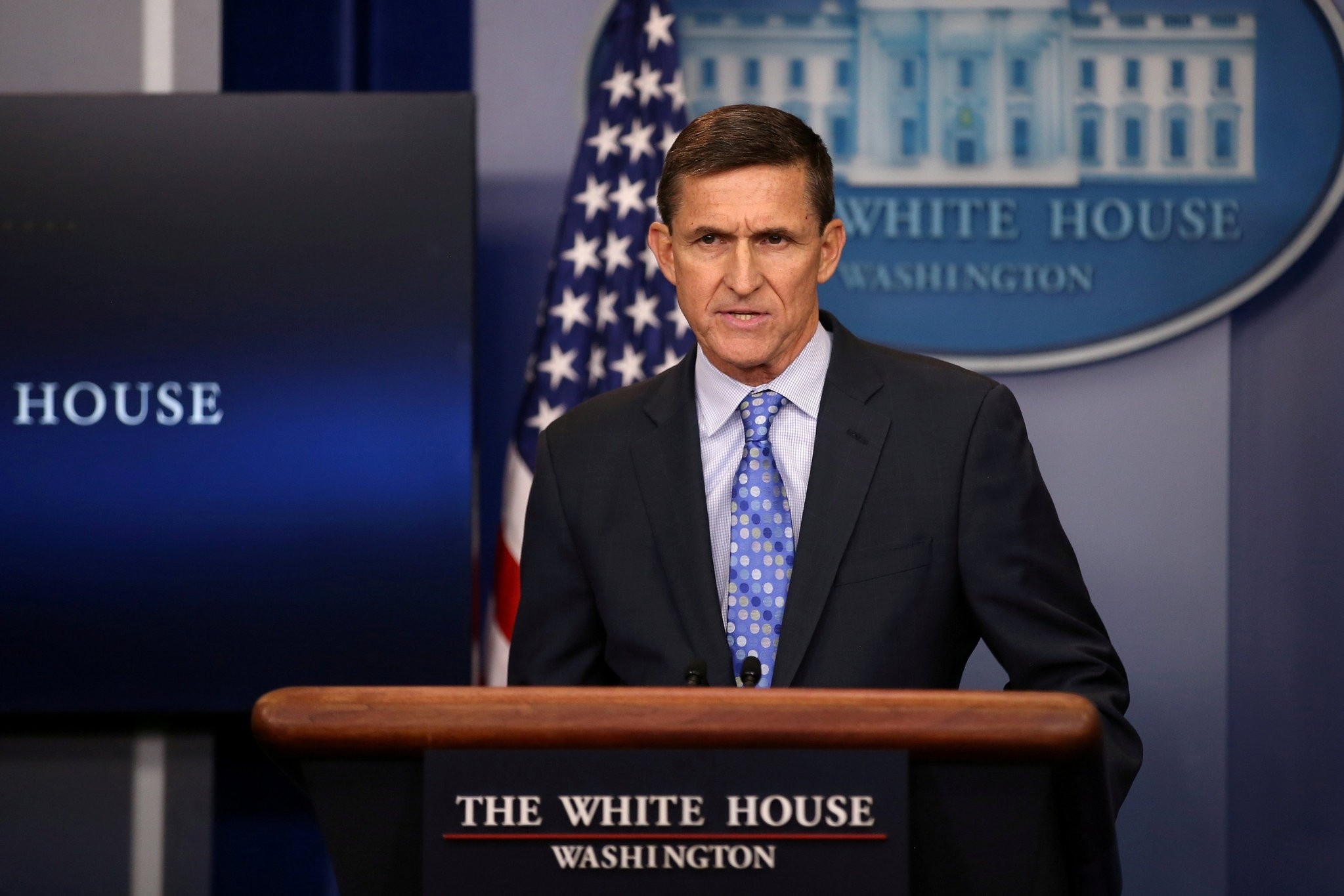 Michael Flynn delivers a statement daily briefing at the White House in Washington, Feb 1, 2017. (REUTERS Photo)