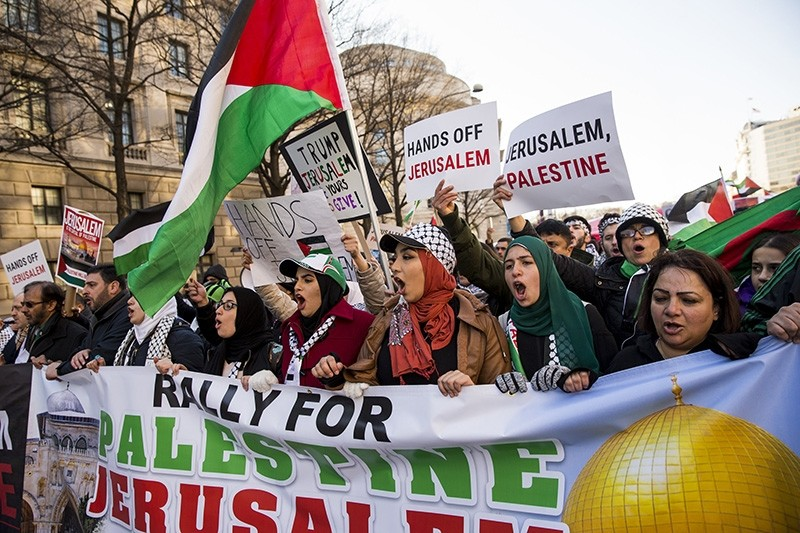 Protesters rally in opposition against U.S. President Donald Trump's move to recognize Jerusalem as Israel's capital December 2017 in Washington, D.C. (AA Photo)
