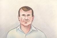 رسم كبير المستشارين في قضايا الأمن القومي كاميرون اورتيس لدى محاكمته (رويترز)