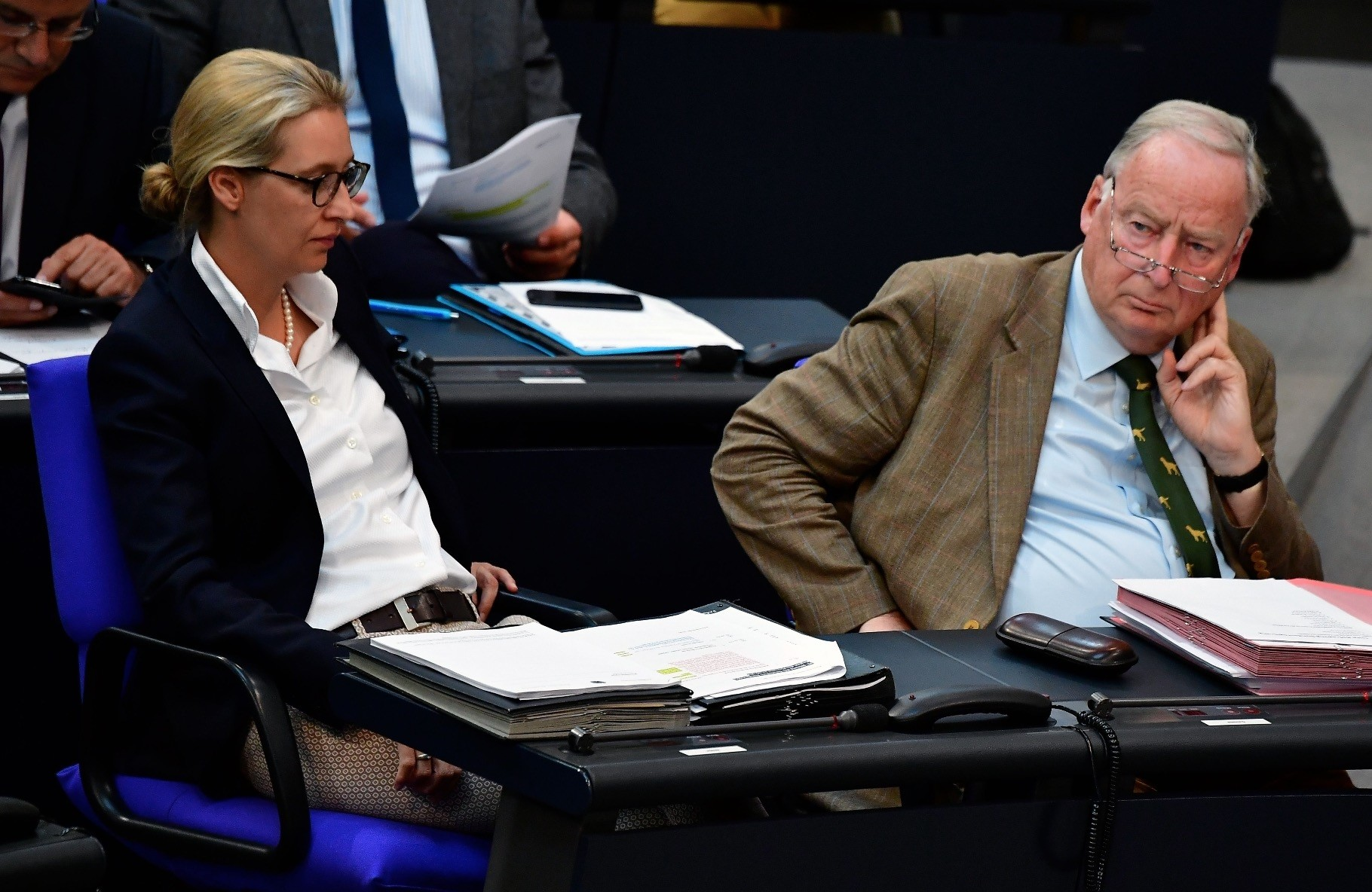 Alice Weidel (L) and Alexander Gauland, co-leaders of the parliamentary group of the AfD in the Bundestag, June 6.