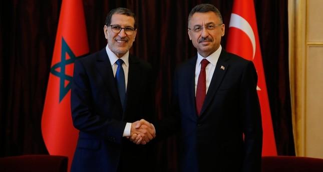 نائب الرئيس التركي فؤاد أزكطاي ورئيس الوزراء المغربي سعد الدين العثماني في مكتب الأمم المتحدة بجنيف (وكالة الأناضول)