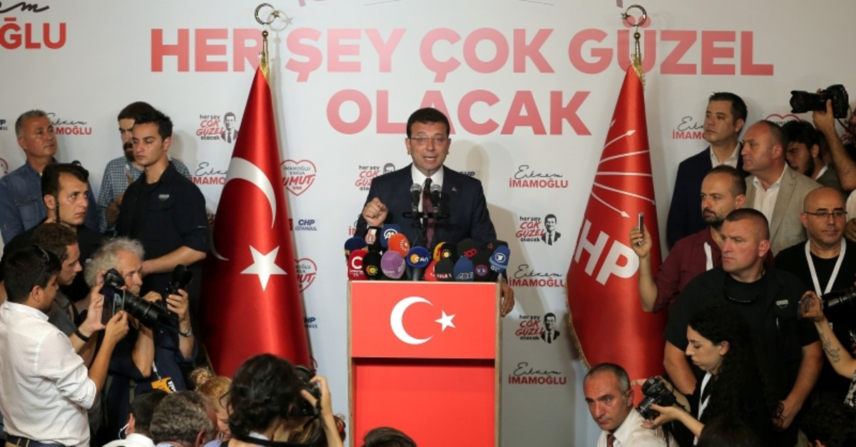 Republican People's Party's Ekrem Imamou011flu makes statements at CHP offices in Istanbul, Sunday, June 23, 2019. (Reuters Photo)
