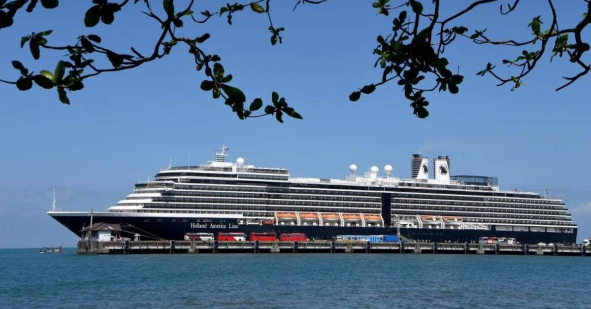 The Westerdam cruise ship docked at the port of Sihanoukville, Feb. 15, 2020. (AFP Photo)