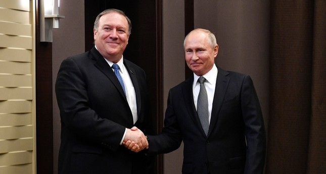 Russian President Vladimir Putin meets with U.S. Secretary of State at the Bocharov Ruchei residence in Sochi, Russia May 14, 2019. (Reuters Photo)