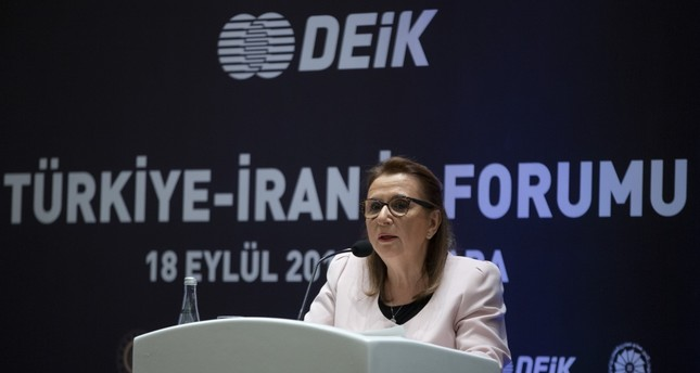 Trade Minister Ruhsar Pekcan speaks during the Turkey-Iran Business Forum, Ankara, Sept. 18, 2019.