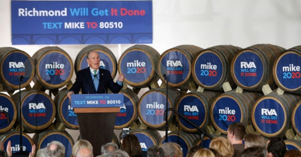 Democratic presidential candidate Mike Bloomberg speaks during a campaign event at Hardywood Park Craft Brewery in Richmond, Virginia, Feb. 15, 2020. (AP Photo)