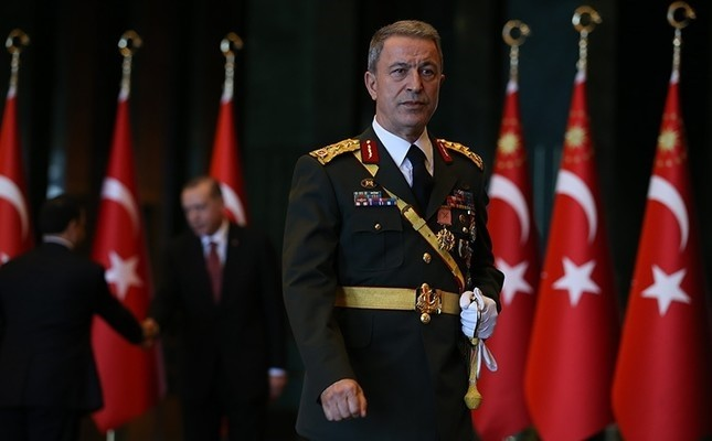 Turkish Chief of Staff Hulusi Akar is seen at the Beştepe Presidential Complex in Ankara during a reception held by President Erdoğan. (AA Photo)
