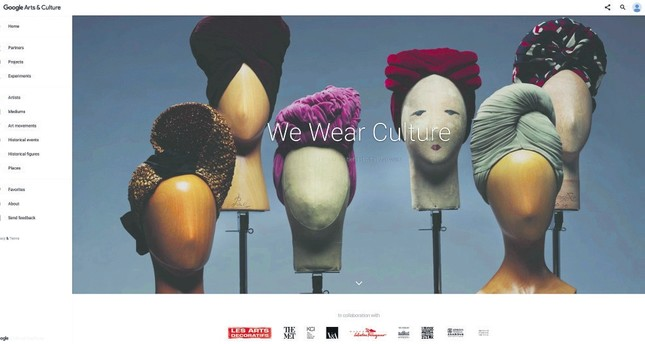 This screen image released by Google shows a section of the new Google project, 'We Wear Culture.'