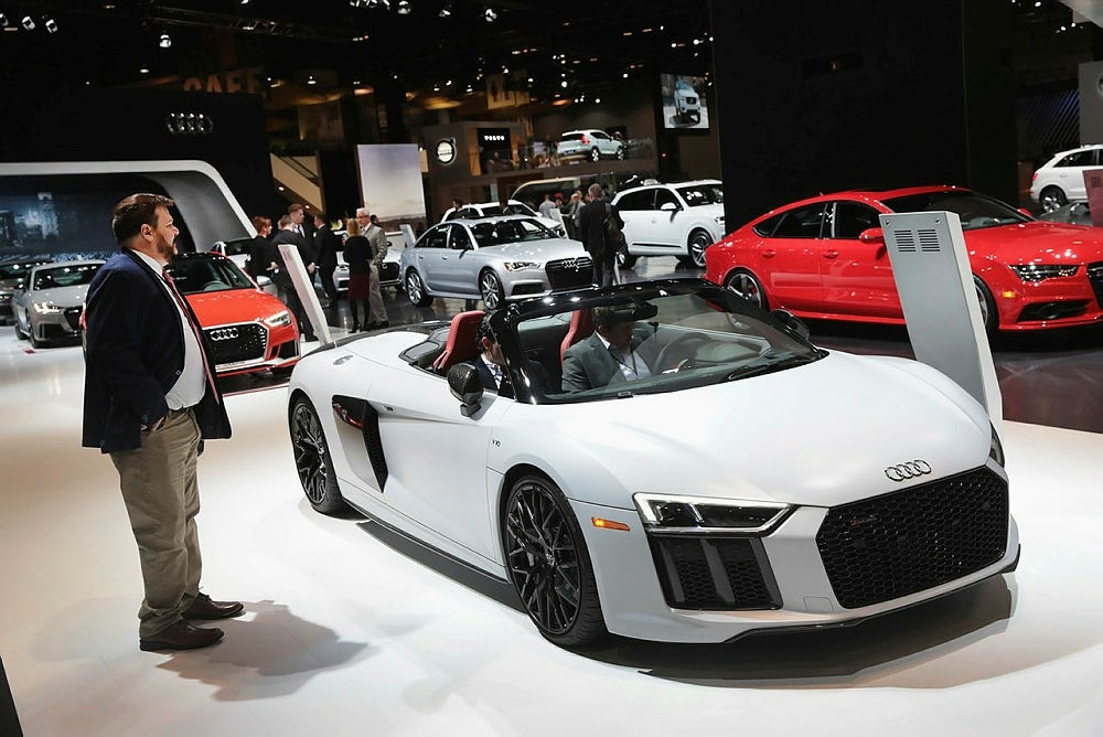 Audi shows off their $177,000 V10 R8 at the Chicago Auto Show.