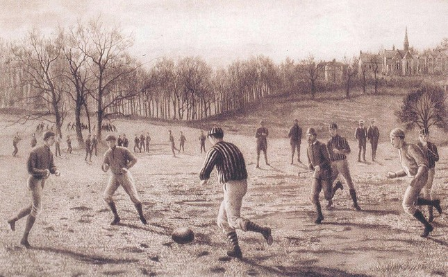 A drawing of people playing football in 19th century England by an anonymous artists.