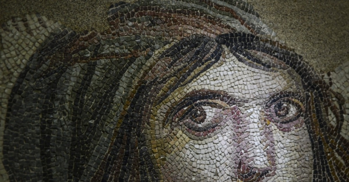 Photo shows the famous ,Gypsy Girl, mosaic at the Zeugma Mosaic Museum. (AA Photo)