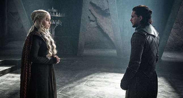 """This photo provided by HBO shows Emilia Clarke as """"Mother of Dragons"""" Daenerys Targaryen and Kit Harington as Jon Snow in a scene from Game of Thrones. (AP Photo)"""