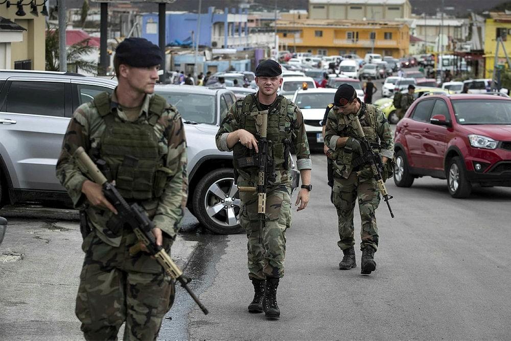 The Dutch Department of Defense on 08 September 2017 shows Dutch soldiers patrolling in Philipsburg, Sint Maarten, on 07 September 2017. (EPA Photo)