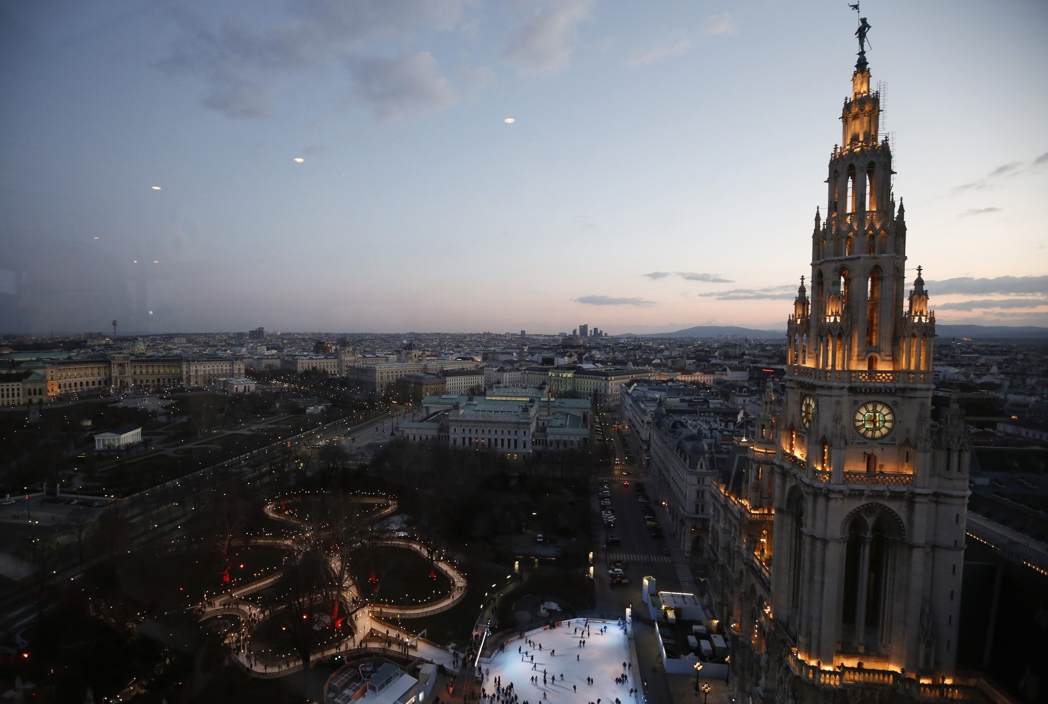 Skaters are seen on an ice rink in front of city hall in Vienna. (Reuters File Photo)