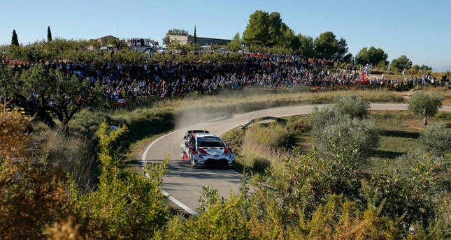 Estonian driver Ott Tanak steers his Toyota Yaris WRC assisted by Estonian co-driver Martin Jarveoja during the third day of the Catalonia 2019 FIA World Rally Championship on October 26, 2019 in Rodonya, near Salou. AFP Photo