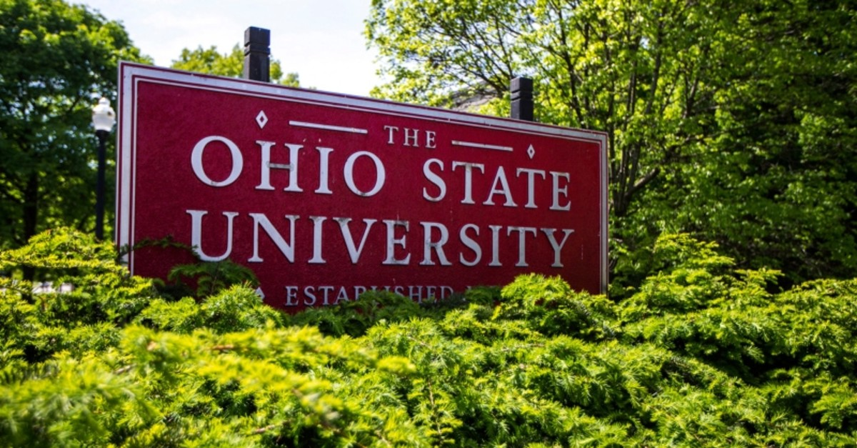This May 8, 2019 photo shows a sign for Ohio State University in Columbus, Ohio. (AP Photo)