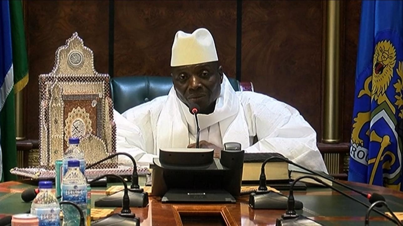 Ex-President Yahya Jammeh speaks during a press conference on December 2, 2016 conceding defeat in the presidential elections. (AFP Photo)
