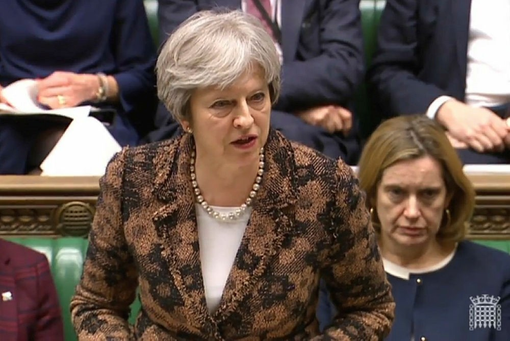 British Prime Minister Theresa May said Monday it was ,highly likely, that Moscow was behind the poisoning of a former double agent. (AFP Photo)