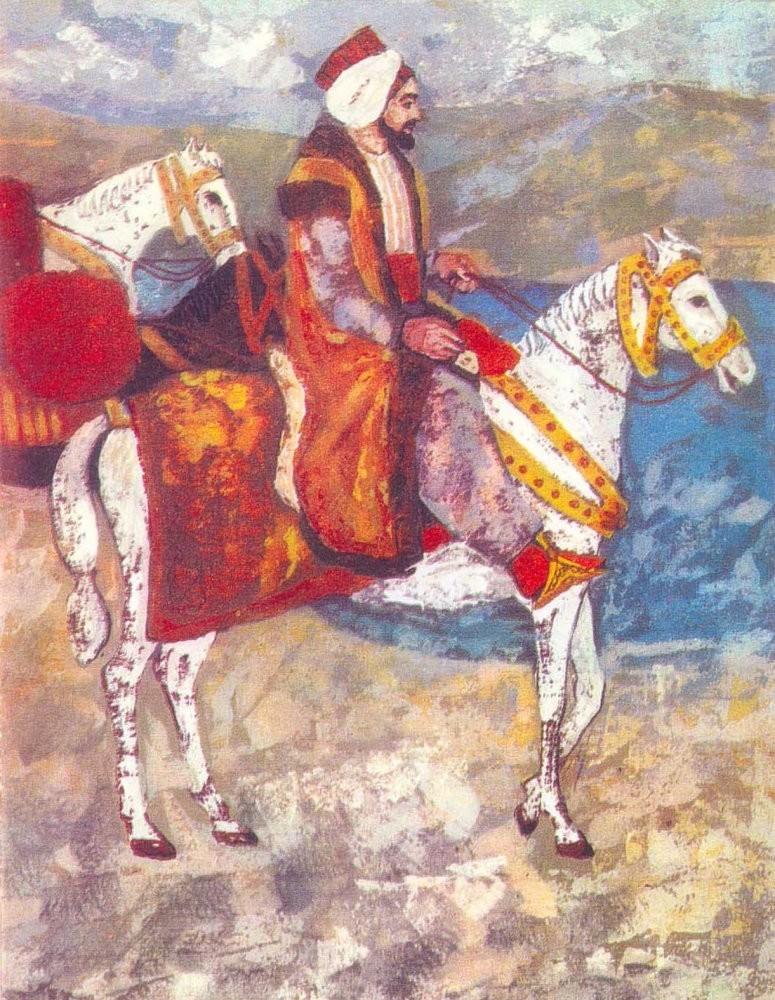 A painting of Evliya u00c7elebi shows the traveler on horseback.