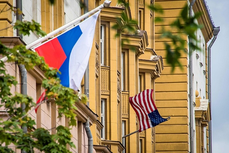 A Russian flag flies next to the US embassy building in Moscow. (AFP Photo)