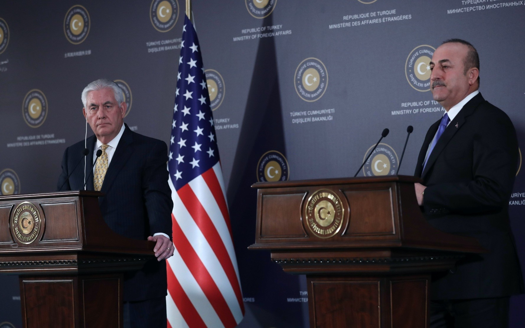 Foreign Minister Mevlu00fct u00c7avuu015fou011flu (R)and U.S. Secretary of State Rex Tillerson listen to questions during a joint press conference following their meeting, Ankara, Feb. 16.
