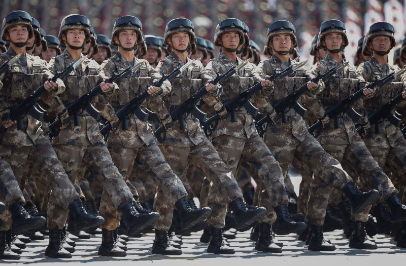 A file picture dated 03 September 2015 shows Chinese troops march during a military parade marking the 70th Anniversary of the 'Victory of Chinese People's Resistance against Japanese Aggression and World Anti-Fascist War'. (EPA Photo)