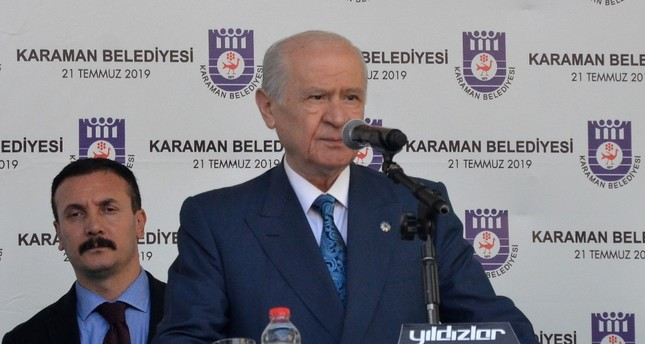The Nationalist Movement Party (MHP) Chairman Devlet Bahçeli addresses the crowd in central Anatolia's Karaman, July 21, 2019.