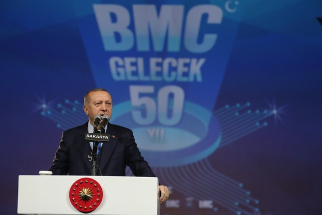 President Recep Tayyip Erdoğan speaks at the ground-laying ceremony for the Turkish defense firms BMC's new facility in industrial Marmara province of Sakarya, Jan. 13, 2019.
