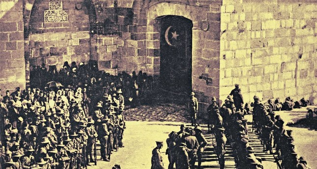 Edmund Allenby, the first British viscount who led the British invasion of Palestine in WWI and captured Jerusalem Dec. 9, 1917, seen entering the Old City with his troops.