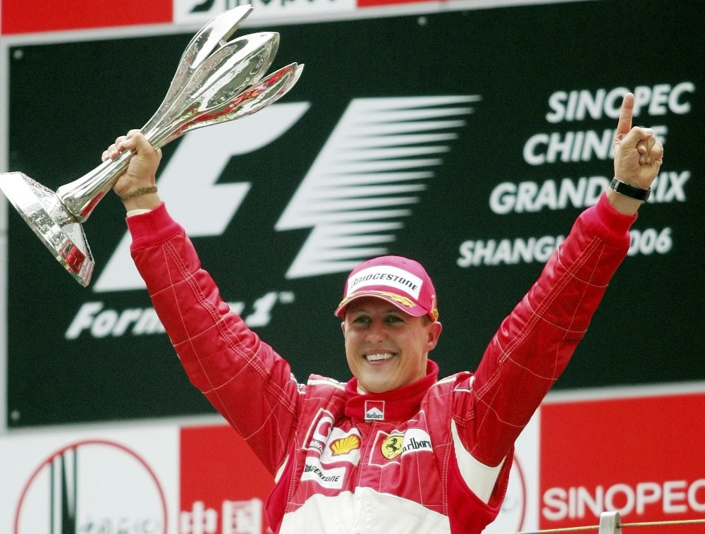 Schumacher celebrates winning the Formula One Chinese Grand Prix auto race at the Shanghai International Circuit in Shanghai, China, on Oct. 1, 2006.