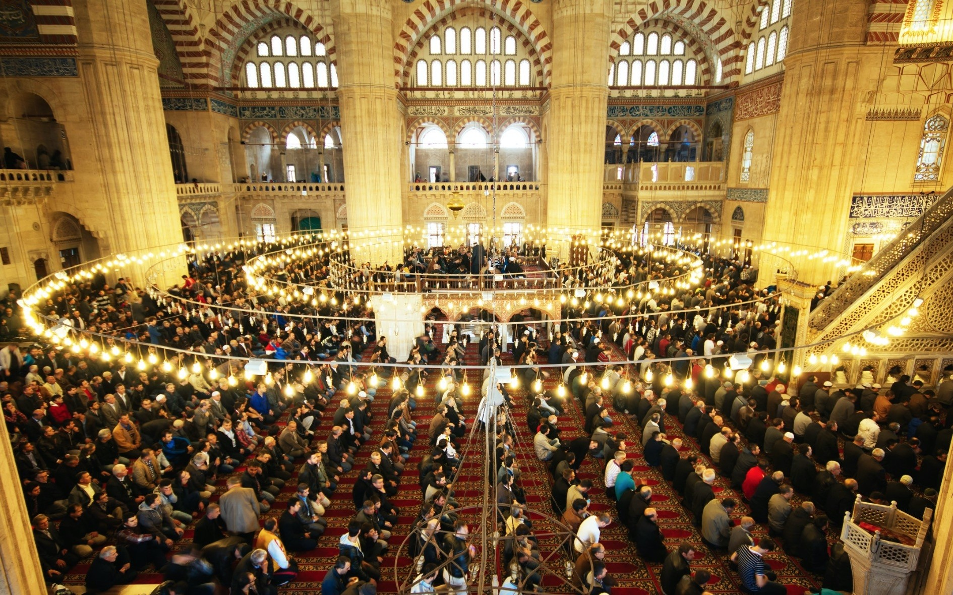 Muslims gather at the Selimiye Mosque in Edirne for eid prayer.