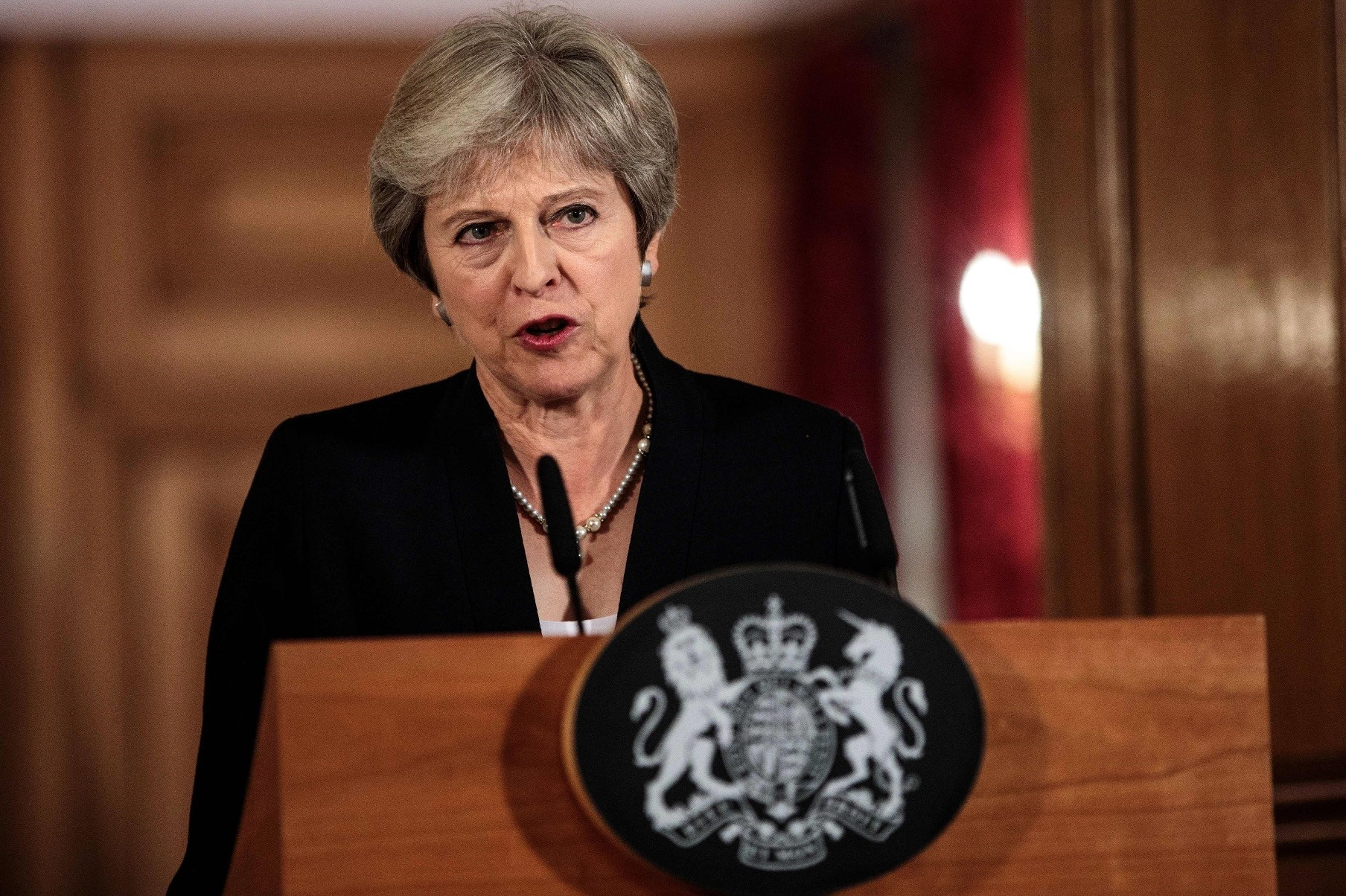 Britainu2019s Prime Minister Theresa May makes a statement on the Brexit negotiations at No. 10 Downing Street, central London, Sept. 21.