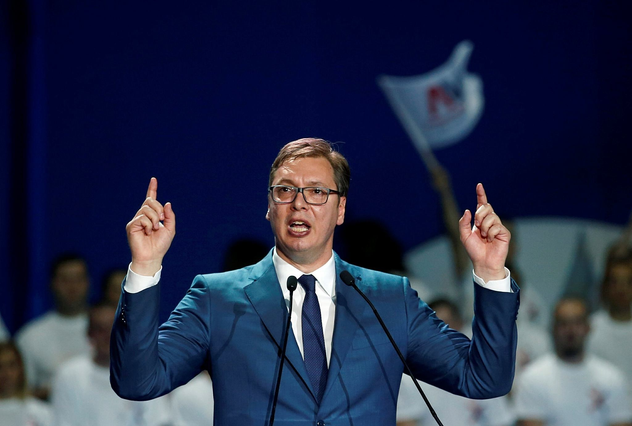 Current Serbian Prime Minister and presidential candidate Aleksandar Vucic speaks during a pre-election rally, in Belgrade, Serbia, Friday, March 24, 2017. (AP Photo)