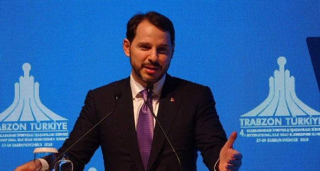 Treasury and Finance Minister Berat Albayrak addresses businesspeople in the Black Sea province of Trabzon, Nov. 28, 2019. (DHA Photo)
