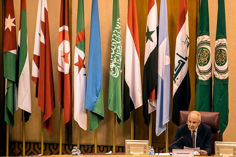 Secretary-General of the Arab League Ahmed Aboul Gheit chairs a meeting at the Arab League headquarters, Cairo, Egypt, Nov. 19, 2017. (AFP Photo)