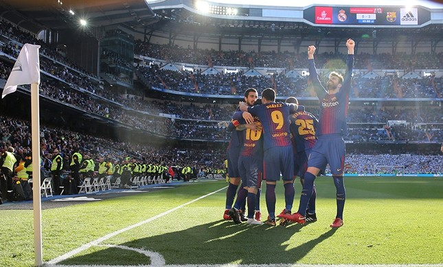 barcelona s aleix vidal celebrates scoring their third goal with gerard pique and team mates in the