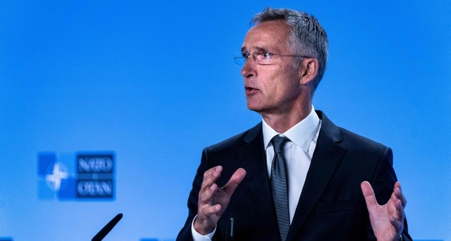NATO Secretary General Jens Stoltenberg gestures as he delivers a speech during a press conference about the end of the Intermediate-Range Nuclear Forces INF treaty at the North Atlantic Treaty Organization NATO HQ, in Brussels AFP Photo