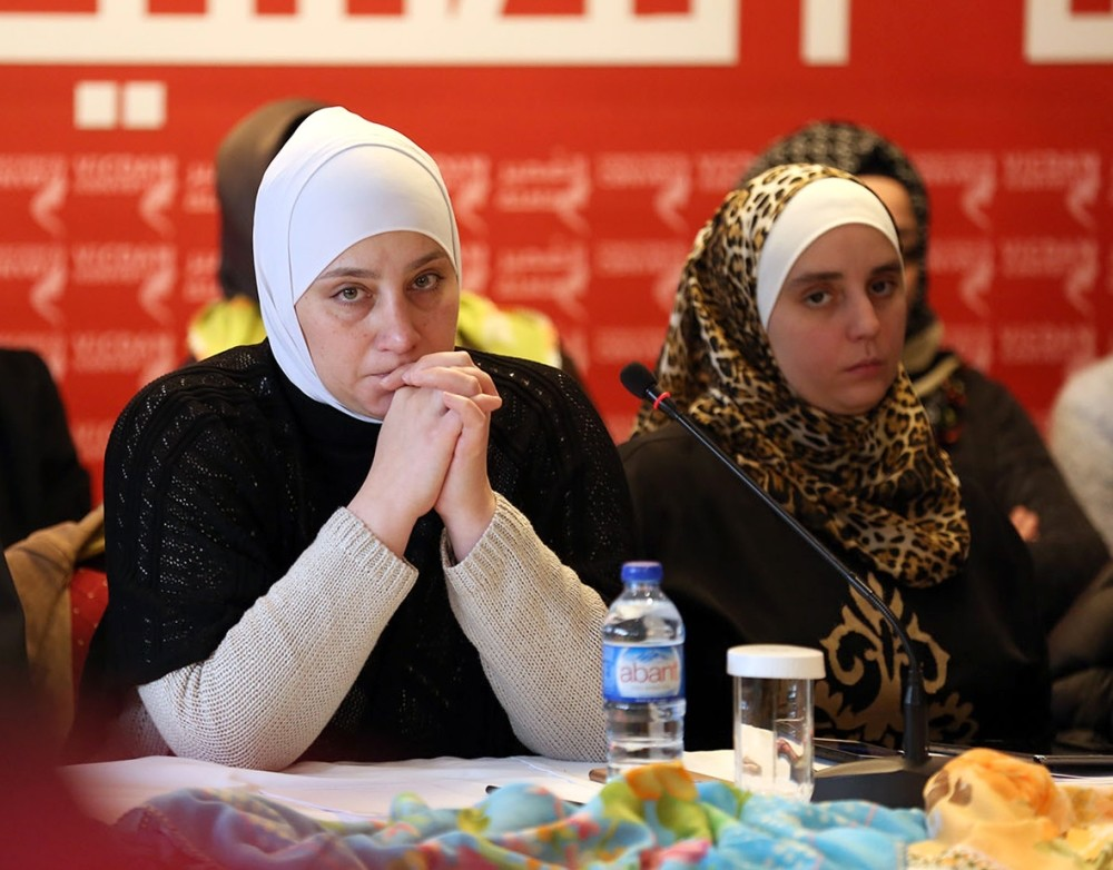 Majd Chourbaji (L), who was imprisoned by the Assad regime, spoke about her horrible experience in prison, at a press conference in Istanbul yesterday.