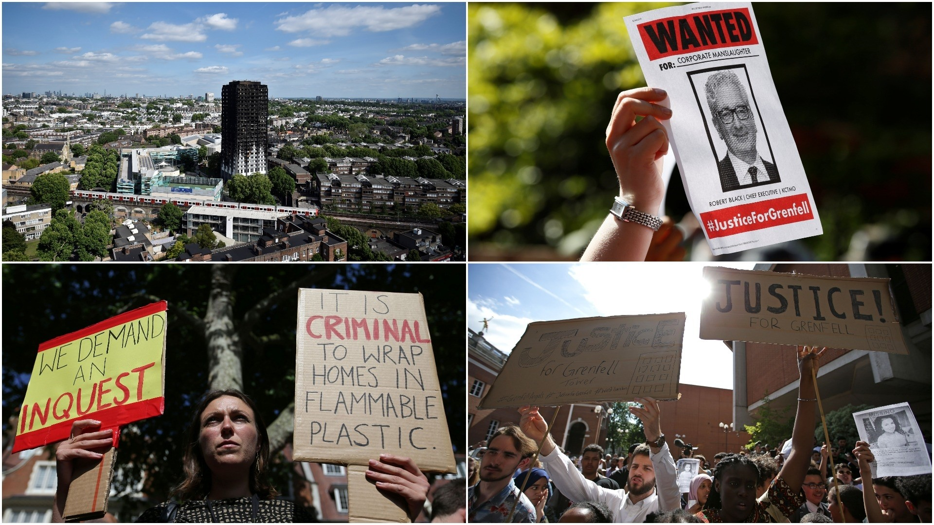 People gather outside Kensington Town Hall on June 16, 2017, to demand justice for those affected by the fire that gutted Grenfell Tower. (AFP/ REUTERS Photos)