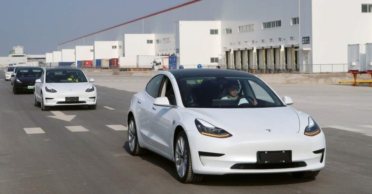 China-made Tesla Model 3 vehicles at the Shanghai Gigafactory of the U.S. electric car maker in Shanghai, China, Dec. 30, 2019. (Reuters Photo)