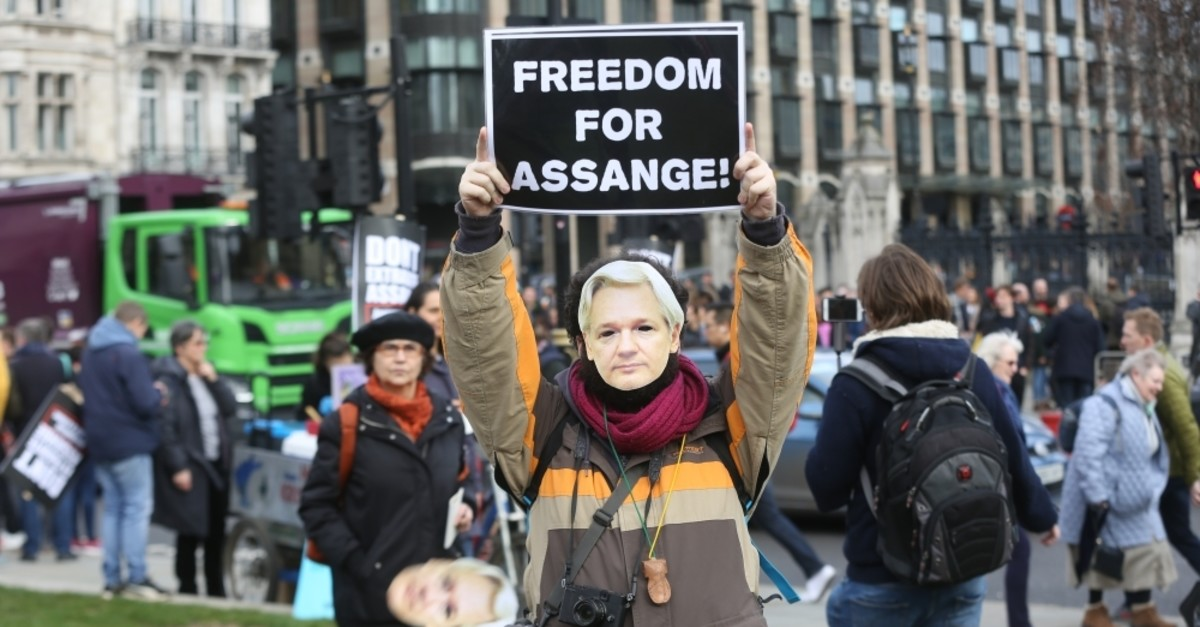 A protest was held in London for Wikileaks founder Julian Assange, who is preparing to appear before the judge due to the U.S.'s request for extradition. (AA Photo)